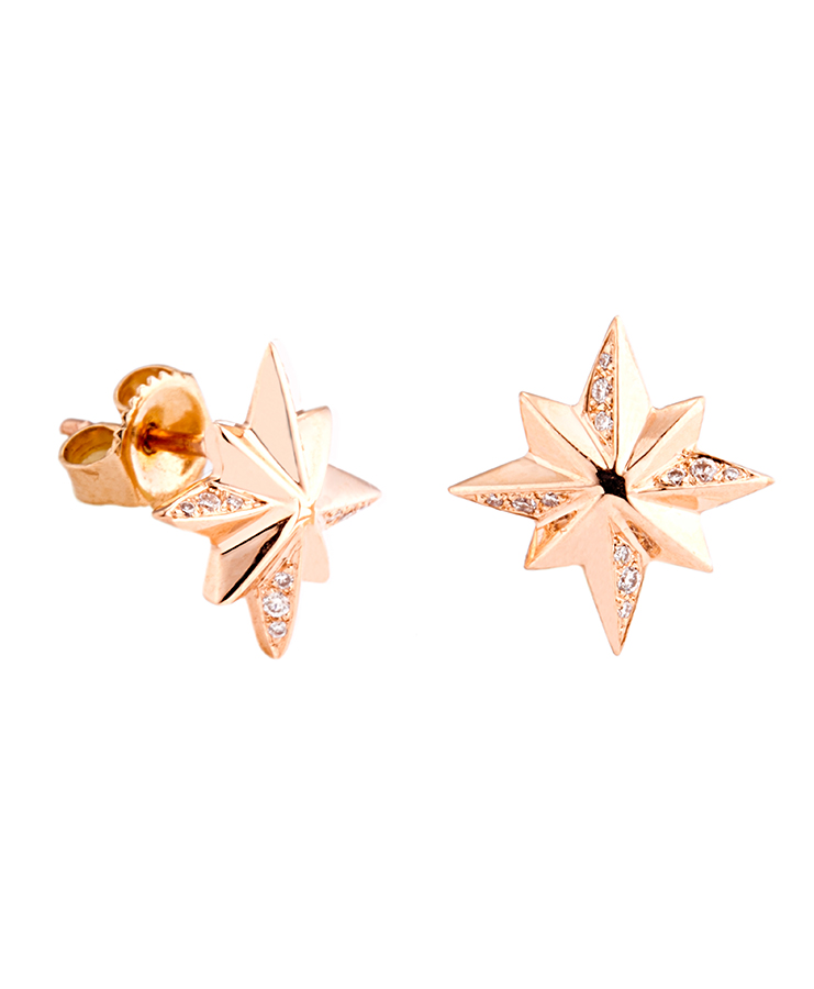 star_earring_rose_gold_diamond